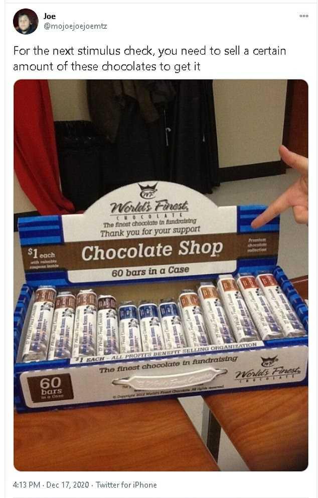 1200 Stimulus Meme - 1200 Bars Of Chocolate